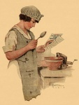 Illustration of woman reading a recipe.