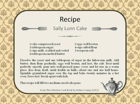 Recipe Sally Lunn Cake