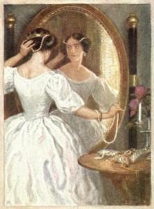 Woman in Victorian-era dress stands in front of large mirror as she adorns herself with strings of pearls.