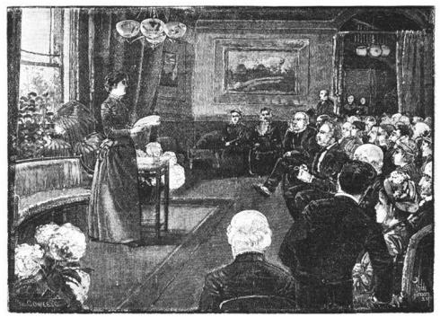 A black and white illustration of a woman in Victorian era dress speaking before an audience of men and women.