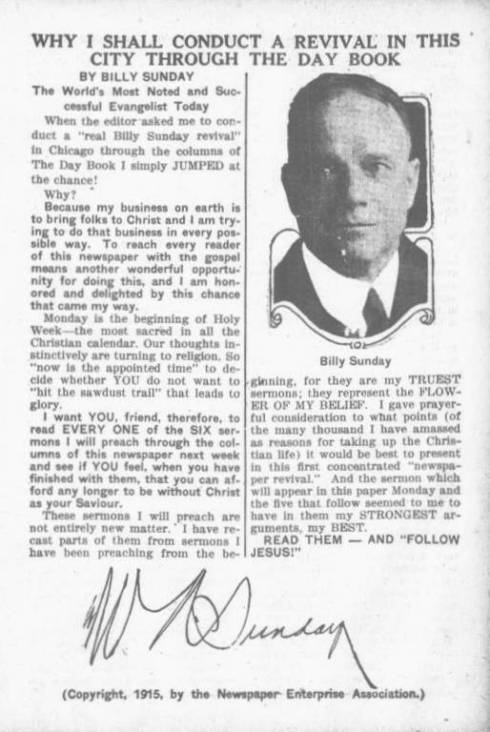 Full-page promotion of Billy Sunday's upcoming written sermons in the Chicago Day Book. March 27,1 915