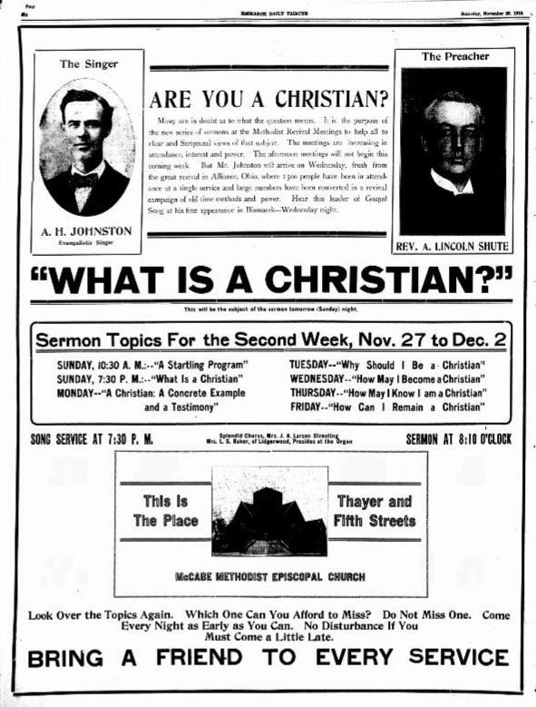 From Bismarck Daily Tribune (Bismarck, ND), November 26, 1910