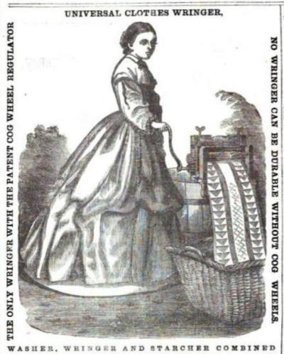 1864 ad for a clothes wringer