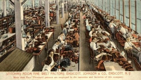 Women working at the Endicott Johnson tanning factory