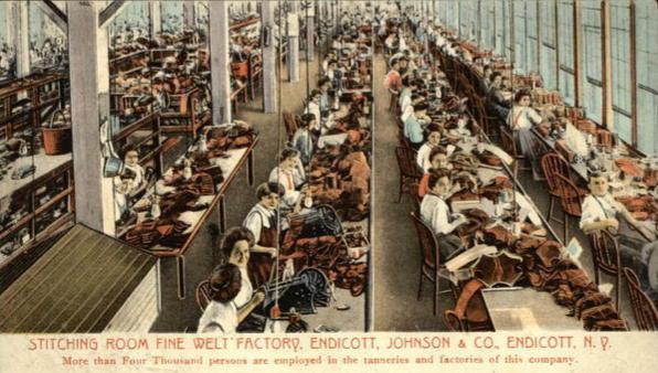 Women working at the Endicott Johnson tanning factory