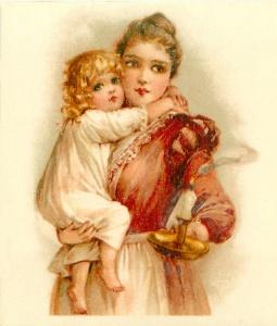 Frances Brundage_Mother holding child and candle 1902