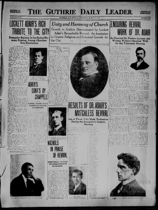 Front Page of the Guthrie Leader (Guthrie, OK) ; March 7, 1914