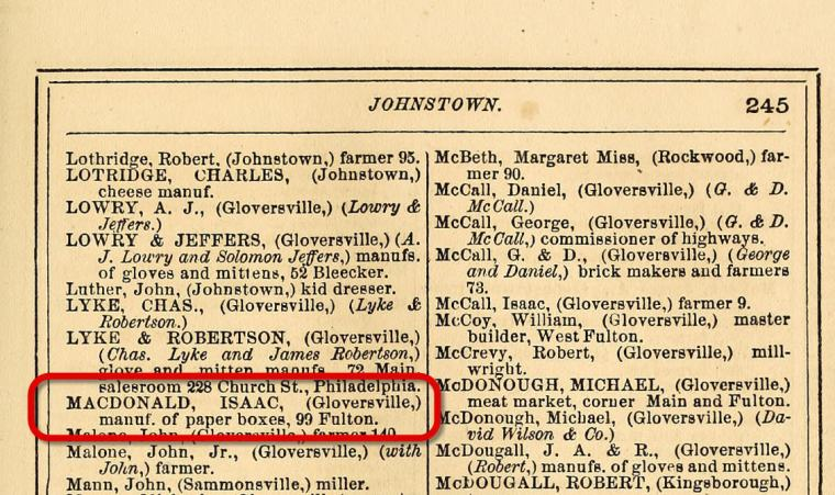 Entry from an 1870 county directory listing Isaac Macdonald's business