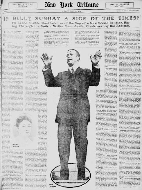 New York Times article on Billy Sunday. May 23, 1915