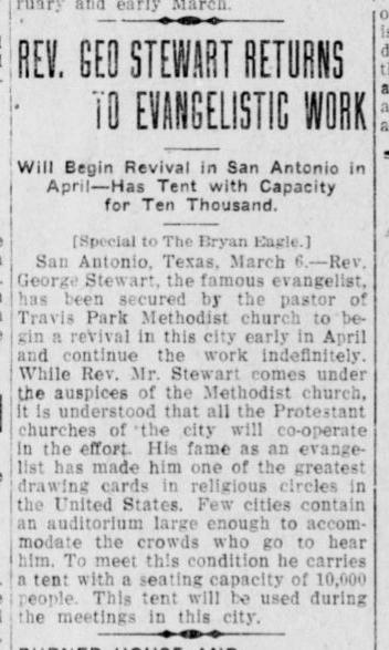 Revival meeting announcement in The Bryan Eagle (Bryan, TX) newspaper; March 9, 1911
