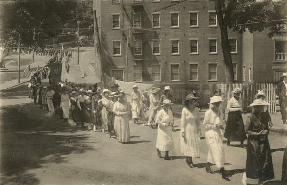 Women parade down the street