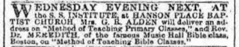 Notice in the Brooklyn (New York) Daily Eagle, January 14, 1882