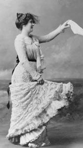 Victorian woman waving her handkerchief