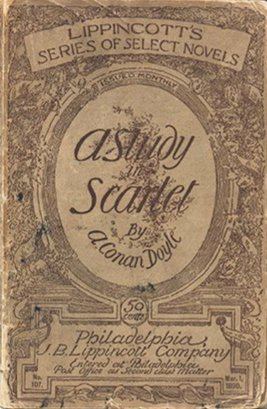 Cover of the 1890 edition of A Study in Scarlet by Arthur Conan Doyle