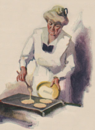Frying griddle cakes ad 1919 ed