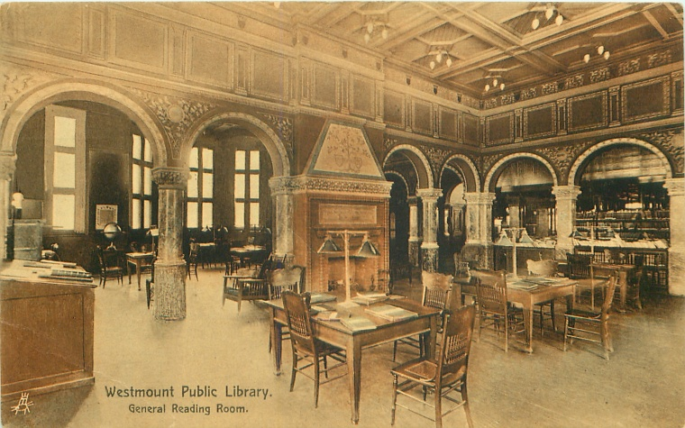 Interior of Westmount Public Library undated