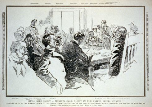 Newspaper illustration of Mormon President Joseph F. Smith (seated in the white chair on the right) giving testimony to Senator George Frisbie Hoar during the Reed Smoot Senate Hearing.
