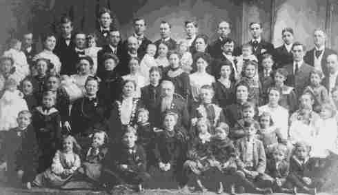 Mormon Church President Joseph F. Smith with his wives and children, circa 1900