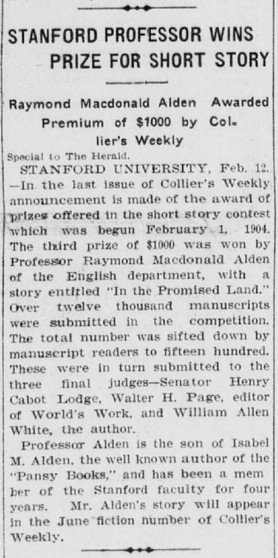 Article in The Los Angeles Herald, February 13, 1905