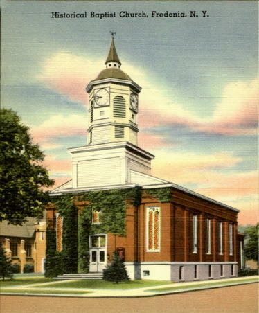 The Baptist Church in Fredonia, NY. Here on December 15, 1873 208 crusaders met and organized the Women's Christian Temperance Union