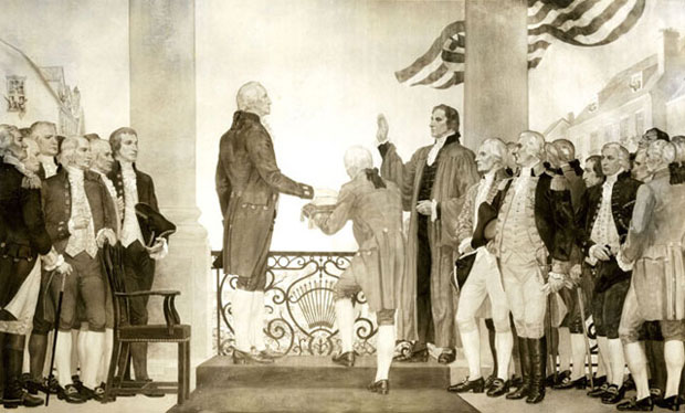 Robert Livingston administers the Presidential Oath of Office to George Washington