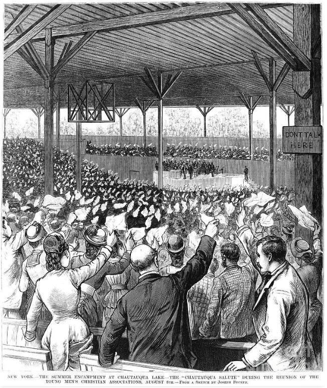 An 1880 drawing of the Chautauqua Salute by Joseph Becker.