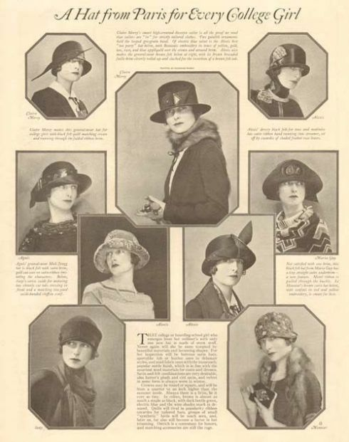 A 1920 magazine spread showing stylish hats for college women.
