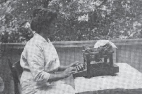 Grace working in the out of doors at her home in Swarthmore, PA. 1915.