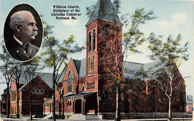 A 1914 postcard depicting Williston Church, where the first Y.P.S.C.E. meeting was organized on February 2, 1881.