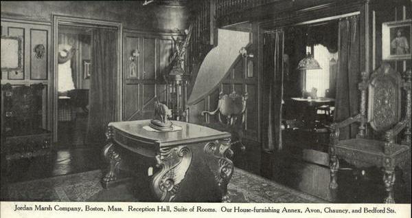 A 1907 Jordan Marsh ad for furnishing a reception hall