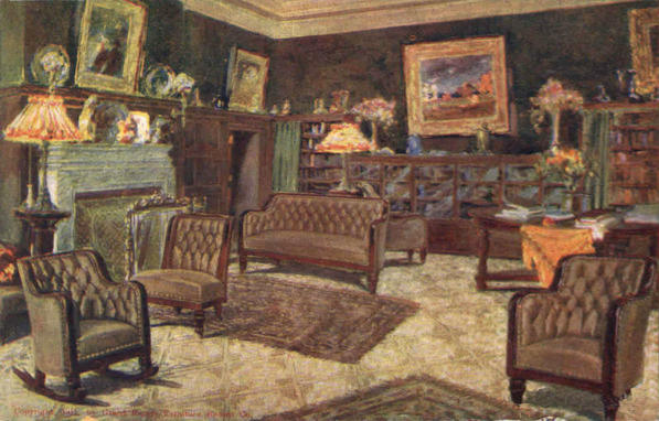Parlor illustration from a 1911 furniture store trade card