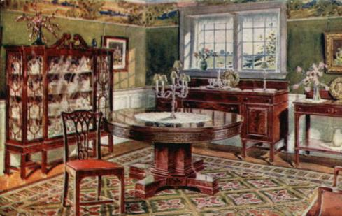 Dining room illustration from a 1912 furniture store advertisement