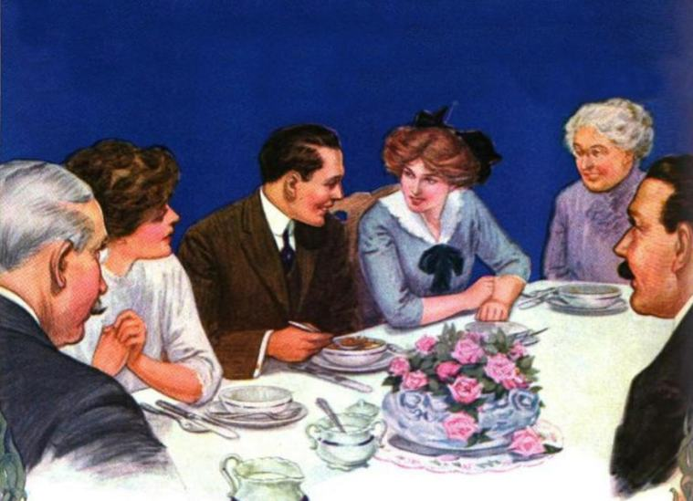 Post Toasties ad 1914 - at the dinner table ed