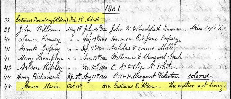Baptism records from St. Andrews Church, Richmond, Staten Island, New York.