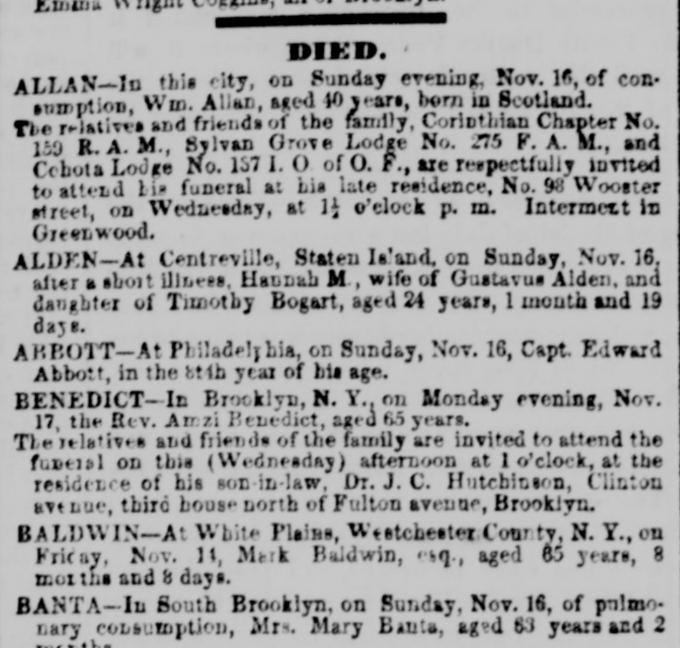 Death notice of Hannah Bogart Alden. From the New York Daily Tribune, November 19, 1856.