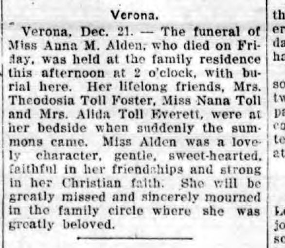 Obituary of Anna Alden. From the Rome Daily Sentinel, December 21, 1914.