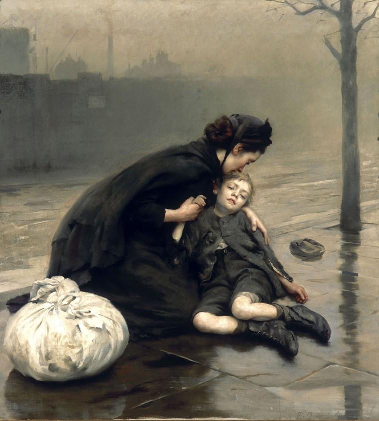 """Homeless"" by Thomas Benjamin Kennington, 1890."
