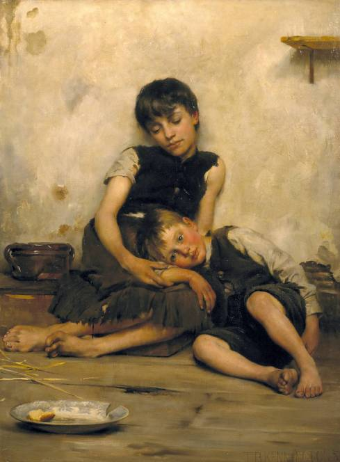 """Orphans"" by Thomas Benjamin Kennington, 1885."