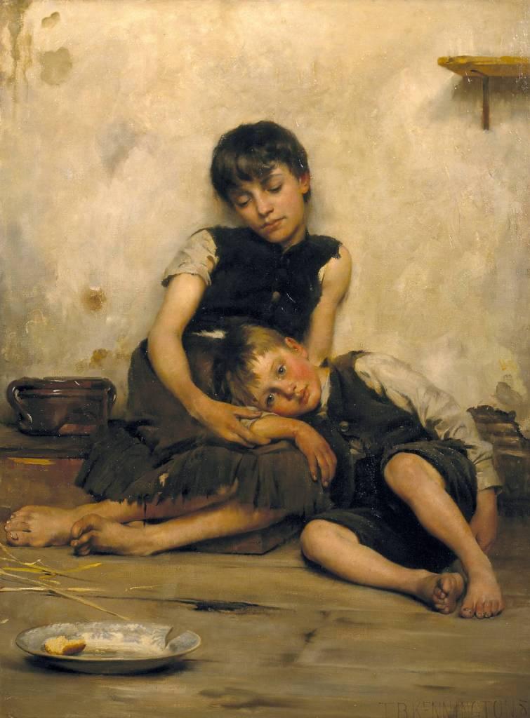 """Orphans"" by Thomas Benjamin Kennington, 1885."