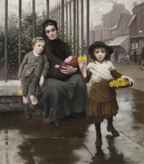 """The Pinch of Poverty"" by Thomas Benjamin Kennington, 1891."