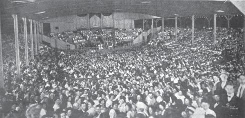 Filled to capacity; a view of the stage from the back of the Amphitheater, 1913.