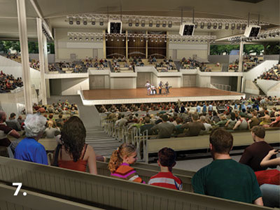 An artist's rendering of the new Amphitheater, looking toward the stage from the rear of the building