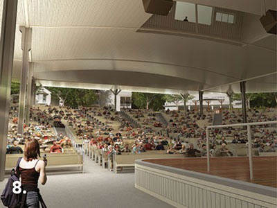 An artist's rendering of the view from the stage toward the rear of the structure. (www.ciweb.org)