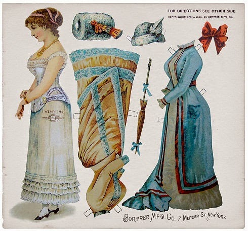Paper doll printed by Bortree Corsets