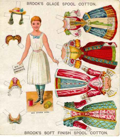 A paper doll compliments of Brook's Spool Cotton Thread.