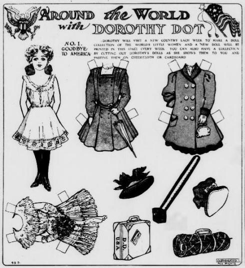 Dorothy Dot paper doll in a 1909 edition of the Washington DC newspaper Evening Star