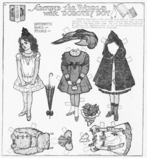 """Antoinette"" paper doll, published in the Los Angeles Herald newspaper in 1909."
