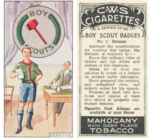 "For over 50 years tobacco companies inserted collectable cards into their product packages and encouraged consumers to ""collect them all."" This card, one of a series of 50, equated the wholesome Boy Scout organization with cigarettes."