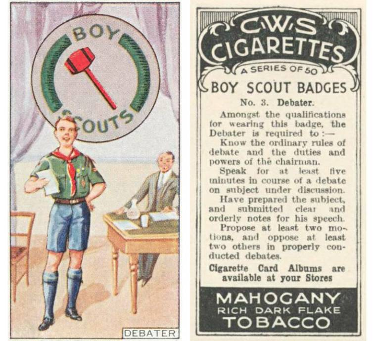 """For over 50 years tobacco companies inserted collectable cards into their product packages and encouraged consumers to """"collect them all."""" This card, one of a series of 50, equated the wholesome Boy Scout organization with cigarettes."""