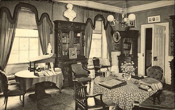 Undated photo of Henry Wadsworth Longfellow's study, Cambridge, Massachusetts